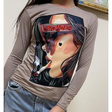 Блуза с апликация и камъни, очила и цигара, универсален размер