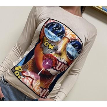 Блуза с апликация и камъни, универсален размер