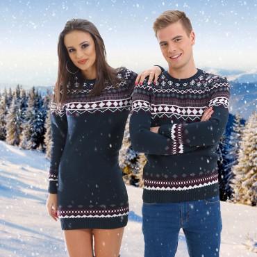 Зимни пуловери за двойки, тъмно-сини