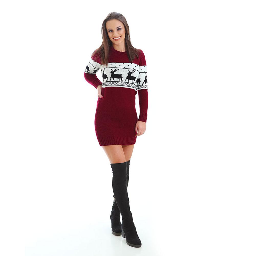 Зимни пуловери за двойки, бордо и бяло