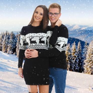 Зимни пуловери за двойки, черно и бяло