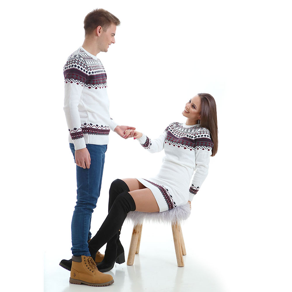 Зимни пуловери за двойки, бели