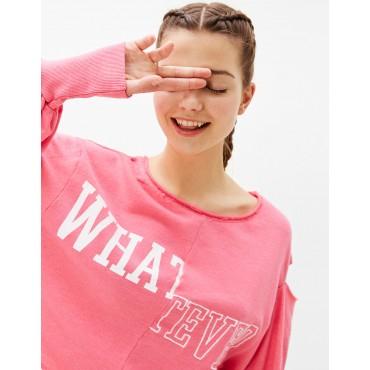 Къса розова блуза, размер L, BERSHKA