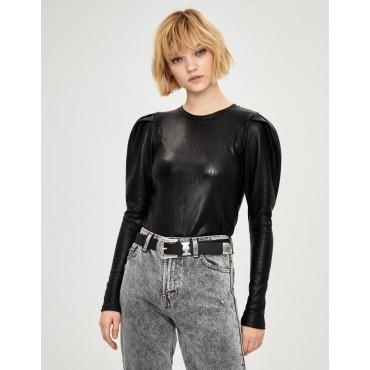 Блуза с дълъг буфан ръкав, размер S, BERSHKA