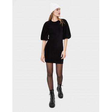 Ефектна рокля с широк ръкав, размер S, BERSHKA