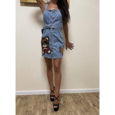 Дънкова къса рокля с апликации с пайети, размер S, BERSHKA