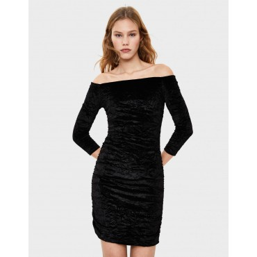 Къса рокля с намачкан ефект, размер L, BERSHKA