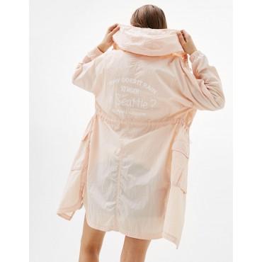 Дамско дълго яке с цип и качулка, размер S, BERSHKA