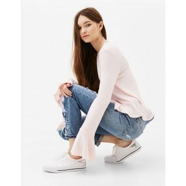 Блуза с дълъг ръкав с широк маншет, размер XS