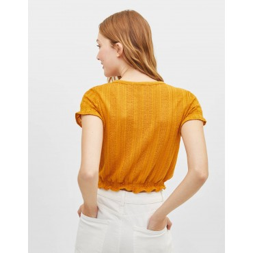 Блузка с копчета и къс ръкав, размер S, BERSHKA