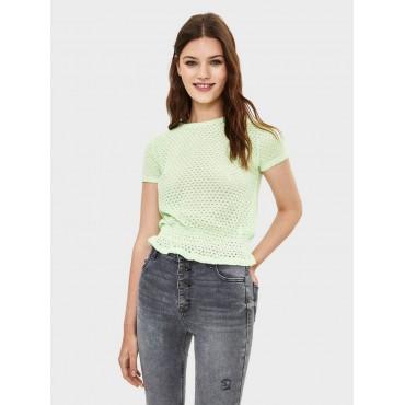 Блуза с волан, с къс ръкав, размер XS
