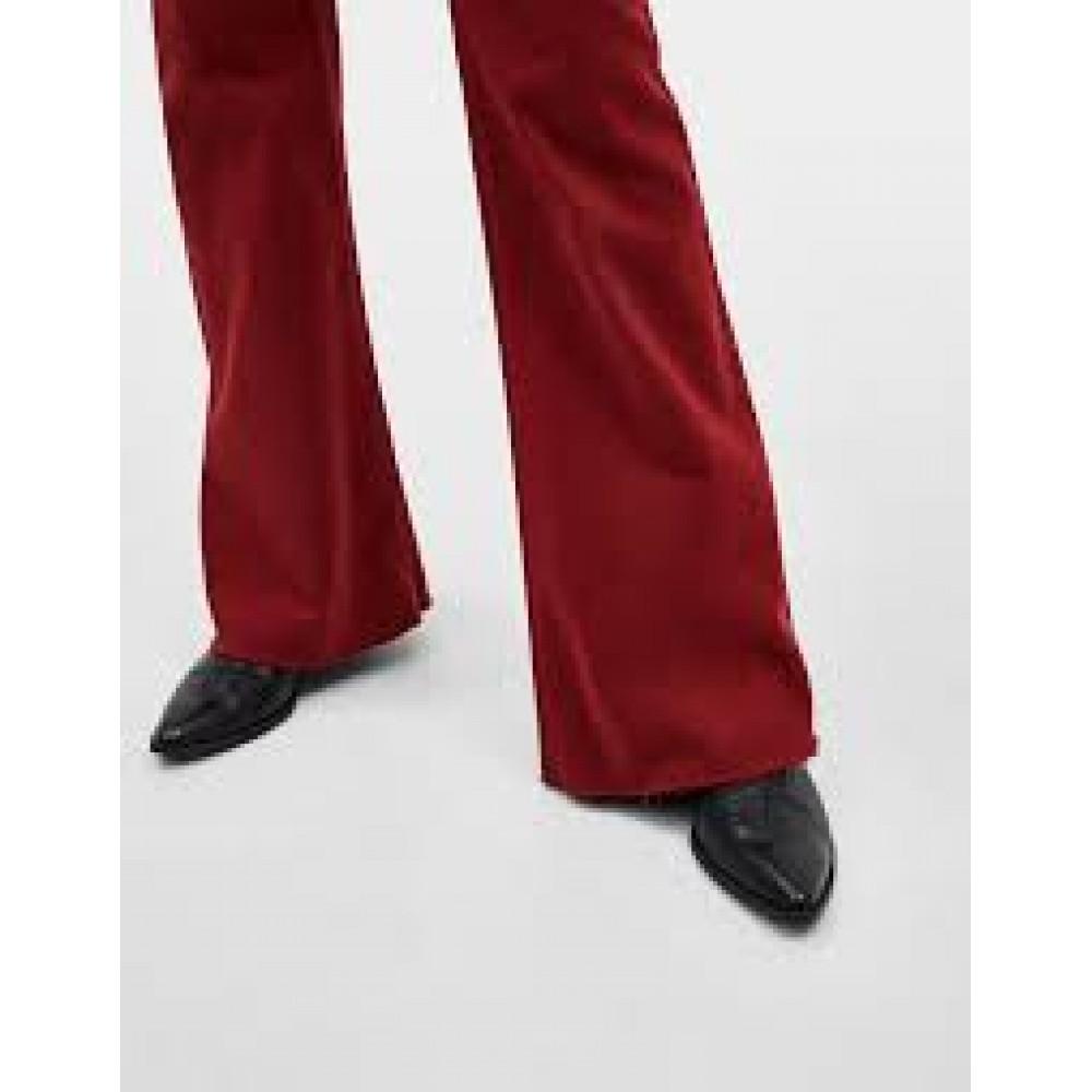 Дънков панталон, бордо, с широки крачоли, BERSHKA