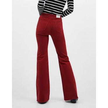 Дънков панталон, бордо, с широки крачоли