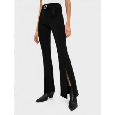 Дамски панталон с колан и широки крачоли, размер XS, BERSHKA