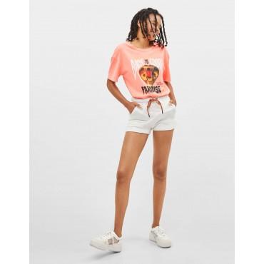 Къси панталонки с джобове и шнур, размер XS, BERSHKA