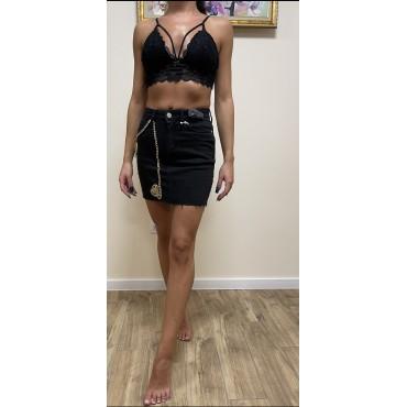 Къса дънкова пола с украса синджири, номер 34, BERSHKA