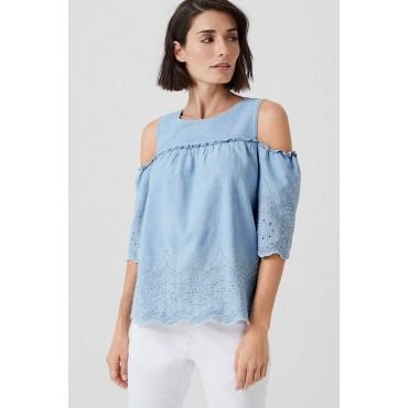 Дамска синя блуза с фестониран подгъв, номер 40