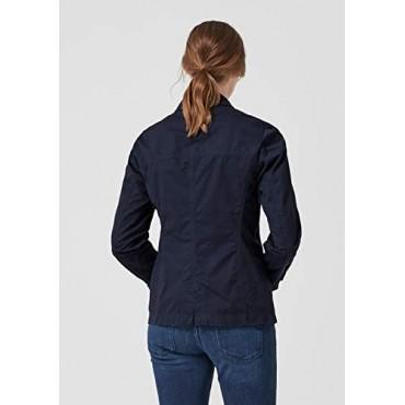 Дамско синьо яке с двуредно закопчаване, номер 38