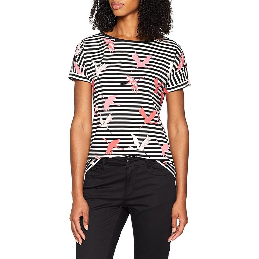 Дамска тениска на райе и жерави, COMMA, номер 38, S.OLIVER