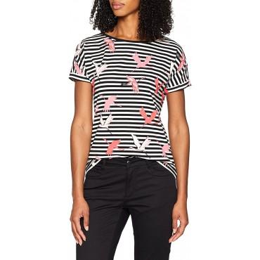 Дамска тениска на райе и жерави, COMMA, номер 38