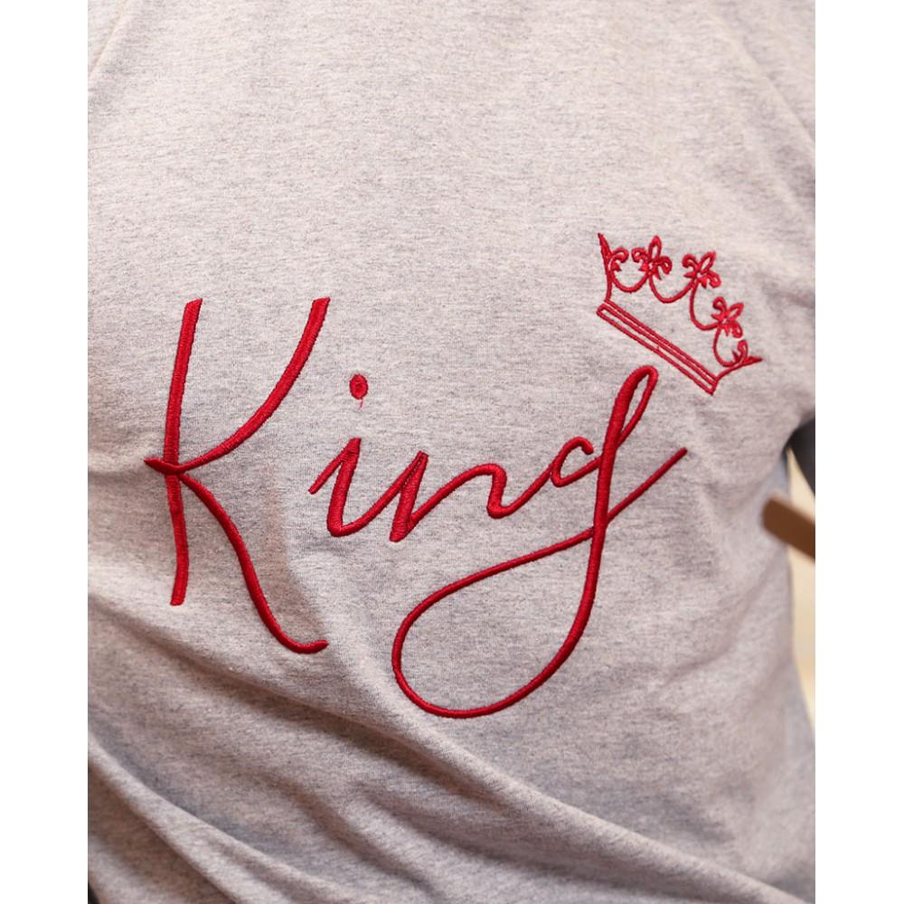 пижами сиво и бордо KING QUEEN бродирани