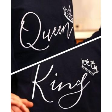 пижами тъмносини KING QUEEN бродирани