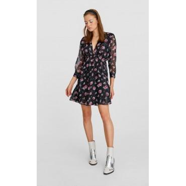 Къса рокля с 3/4 ръкави, размер S, STRADIVARIUS