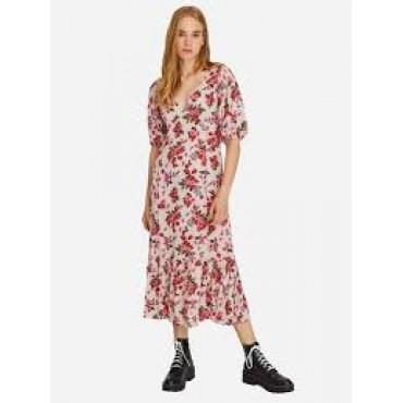 Дамска рокля на цветя с остро деколте, размер S, STRADIVARIUS