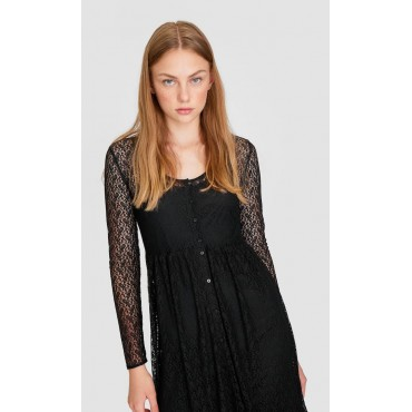Стилна дантелена рокля, размер М, STRADIVARIUS