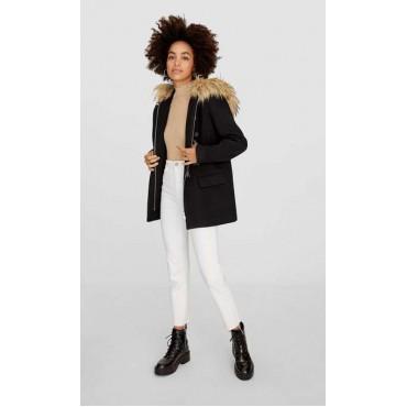 Дамско палто, късо, с качулка, STRADIVARIUS