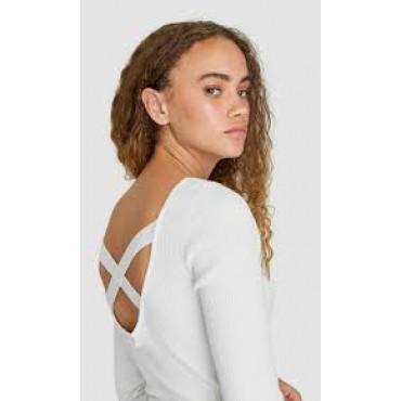 Дамски пуловер с остро деколте на гърба и кръстосани презрамки, размер М, STRADIVARIUS