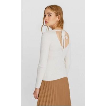 Дамски пуловер с остро деколте на гърдите и гърба, STRADIVARIUS