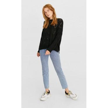 Дамски пуловер с плетка ажур, размер S, STRADIVARIUS