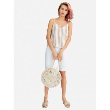 Дамска къса блузка на райе с тънки презрамки, размер S