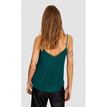 Дамска къса блузка в петролен цвят, размер S