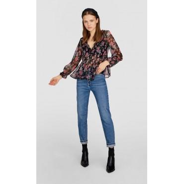 Дамска блузка с дълги ръкави и остро деколте, флорален мотив, размер S