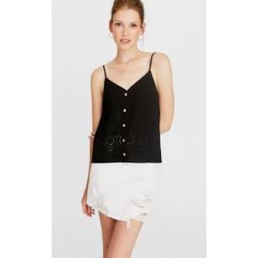 Дамска къса черна блузка с презрамки, размер М