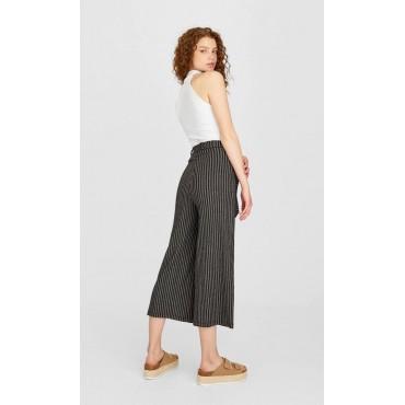 Дамски панталон райе с колан, размер S, STRADIVARIUS
