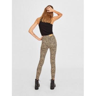 Дънков панталон, тигрова шарка, висока талия, STRADIVARIUS