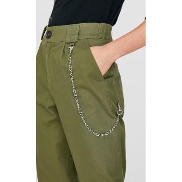 Дамски зелен панталон със синджир, размер S, STRADIVARIUS