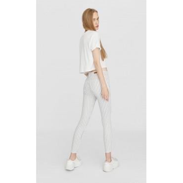 Дънков панталон, бял, синьо райе, висока талия, STRADIVARIUS