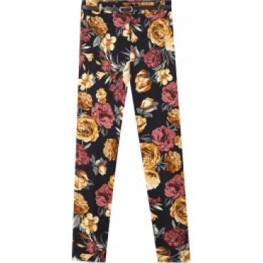 Дамски панталон с флорални мотиви, с колан, номер 32, STRADIVARIUS