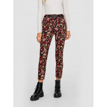 Дамски клин-панталон с флорални мотиви, с колан, STRADIVARIUS