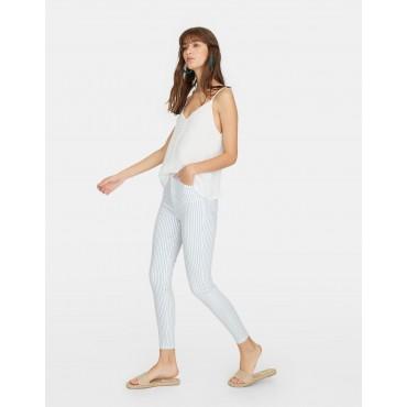Дамски панталон на сини райета, номер 38, STRADIVARIUS