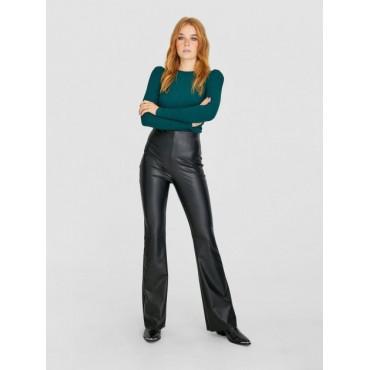 Дамски панталон с ефект кожа, размер S, STRADIVARIUS