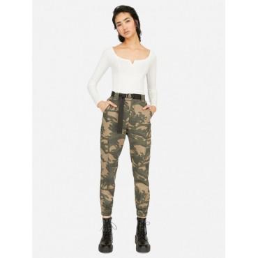 Дамски панталон с колан, камуфлаж, размер XS, STRADIVARIUS