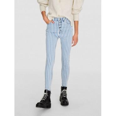 Дънков панталон, skinny, с висока талия, райе, STRADIVARIUS
