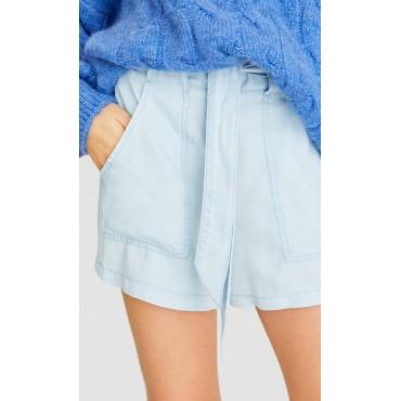 Дамски къси светлосини панталонки с колан, размер М, STRADIVARIUS
