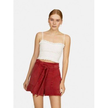 Дамски къси панталонки, с колан, бордо, размер L, STRADIVARIUS