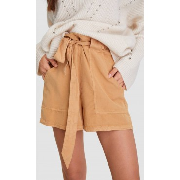 Дамски къси панталонки с колан, бежови, STRADIVARIUS